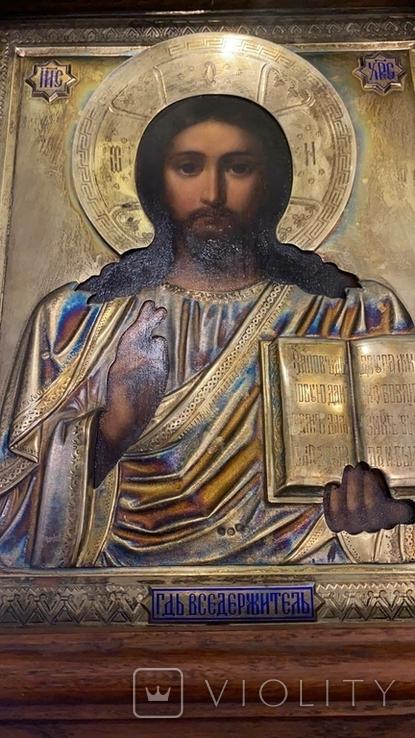 Икона Господь Вседержитель. Оклад серебро, позолота, эмали, фото №4