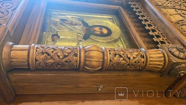 Икона Господь Вседержитель. Оклад серебро, позолота, эмали, фото №5