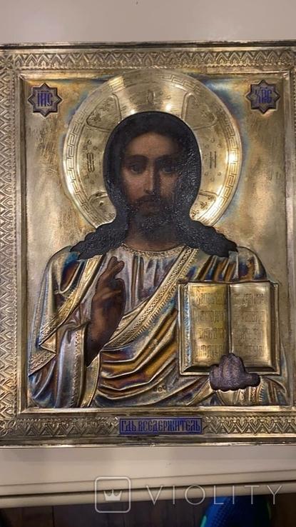 Икона Господь Вседержитель. Оклад серебро, позолота, эмали, фото №6