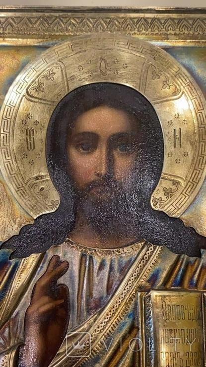 Икона Господь Вседержитель. Оклад серебро, позолота, эмали, фото №10