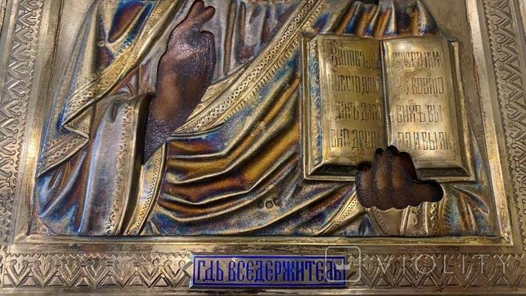 Икона Господь Вседержитель. Оклад серебро, позолота, эмали, фото №11