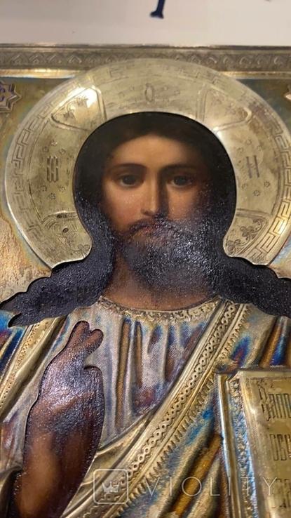 Икона Господь Вседержитель. Оклад серебро, позолота, эмали, фото №13