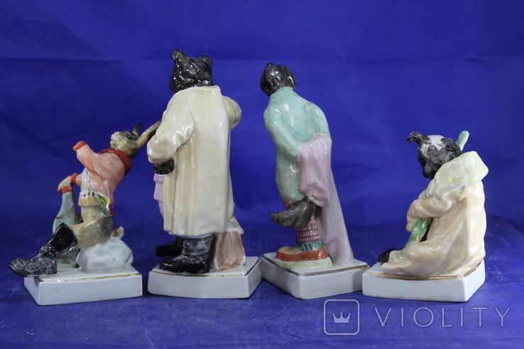 Фарфоровые статуэтки Волк Заяц Медведь Пес. На злобу дня 4 фигурки в одном лоте, фото №6