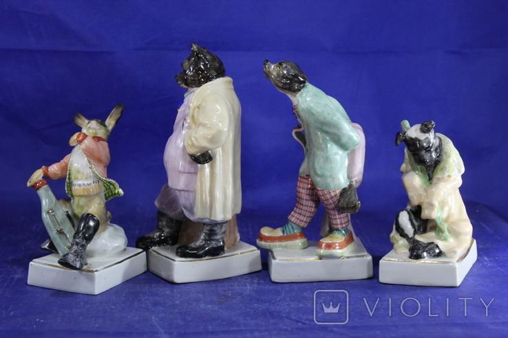 Фарфоровые статуэтки Волк Заяц Медведь Пес. На злобу дня 4 фигурки в одном лоте, фото №7
