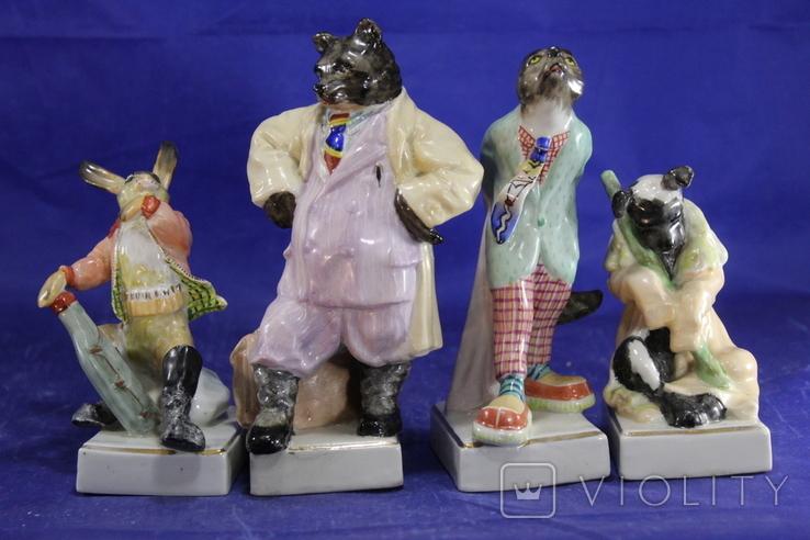 Фарфоровые статуэтки Волк Заяц Медведь Пес. На злобу дня 4 фигурки в одном лоте, фото №8