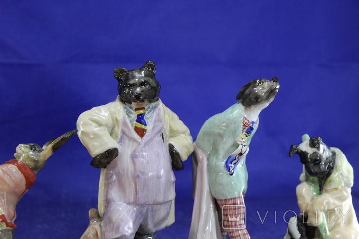 Фарфоровые статуэтки Волк Заяц Медведь Пес. На злобу дня 4 фигурки в одном лоте, фото №10