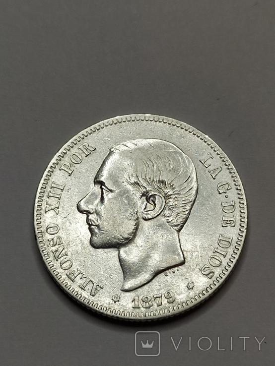 2 песеты 1879 года, Испания, серебро, фото №3