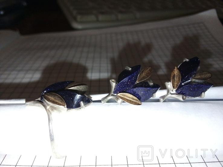 Красивый набор : кольцо+серги ,с позолотой 585 пр, фото №8
