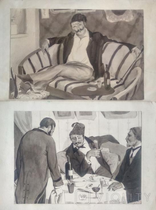 Две акварели.Луцкевич-Городничная., фото №2