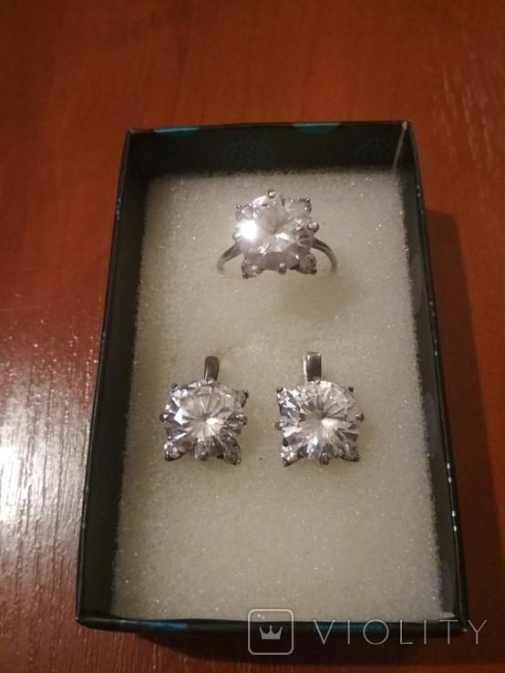 """Серебряные серьги и кольцо с камнями . (925 проба). Клеймо """" Голова""""., фото №2"""