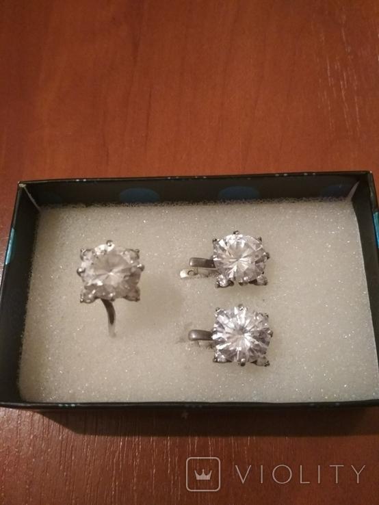 """Серебряные серьги и кольцо с камнями . (925 проба). Клеймо """" Голова""""., фото №6"""