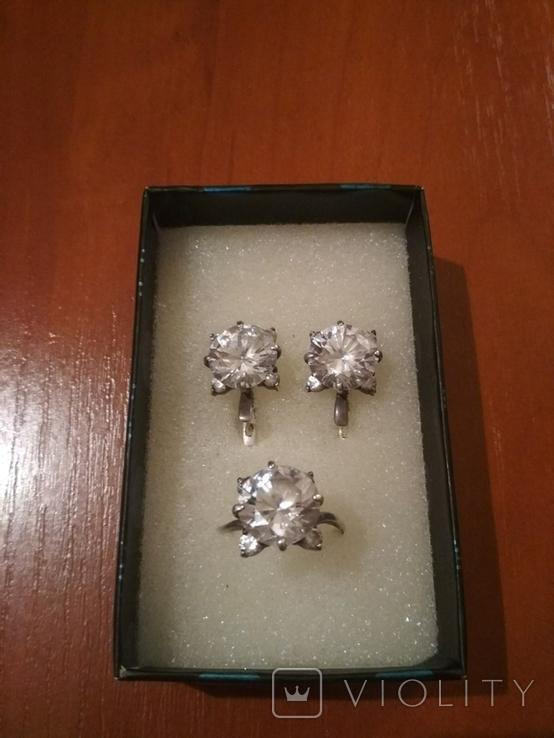 """Серебряные серьги и кольцо с камнями . (925 проба). Клеймо """" Голова""""., фото №7"""