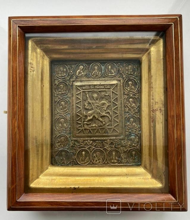 Икона «Святой Георгий Победоносец» в киоте, фото №2