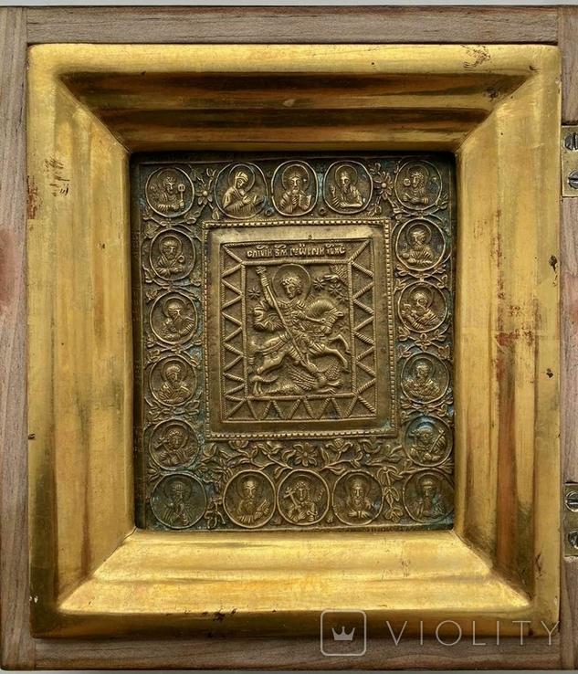 Икона «Святой Георгий Победоносец» в киоте, фото №3