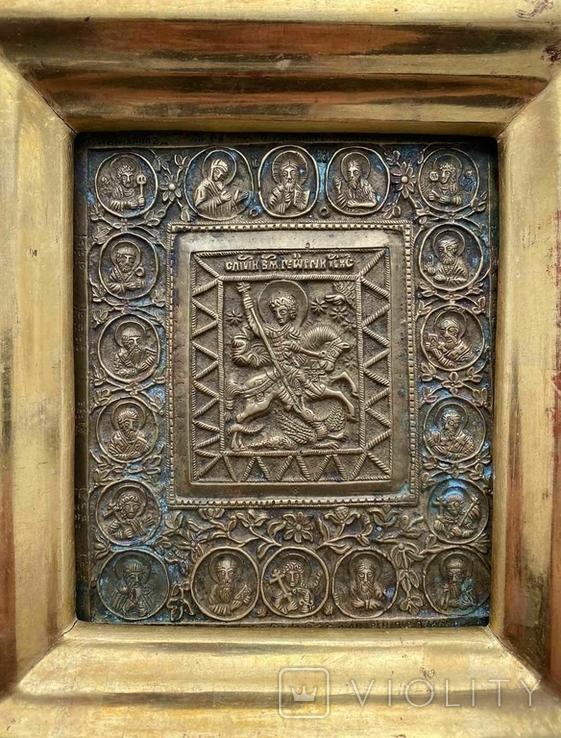Икона «Святой Георгий Победоносец» в киоте, фото №4