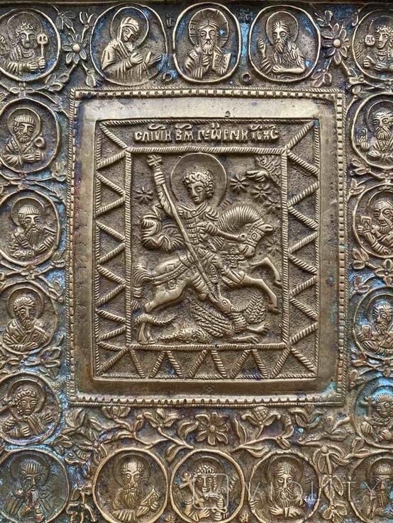 Икона «Святой Георгий Победоносец» в киоте, фото №5