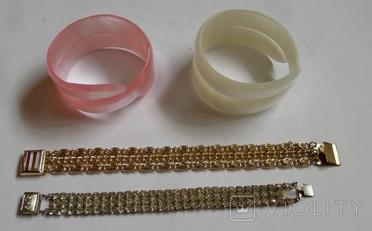 Винтажный браслет с камнями, металлический браслет и два пластиковых под перламутр., фото №2