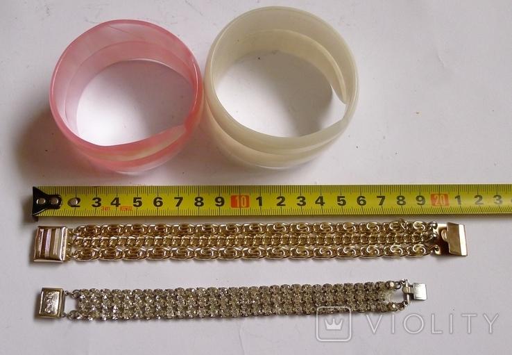 Винтажный браслет с камнями, металлический браслет и два пластиковых под перламутр., фото №3