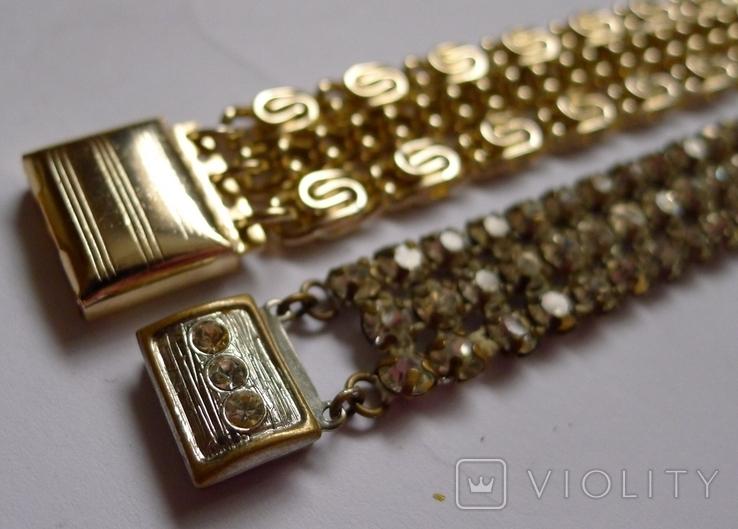 Винтажный браслет с камнями, металлический браслет и два пластиковых под перламутр., фото №4