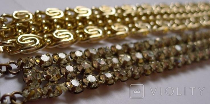 Винтажный браслет с камнями, металлический браслет и два пластиковых под перламутр., фото №5
