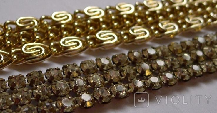 Винтажный браслет с камнями, металлический браслет и два пластиковых под перламутр., фото №6