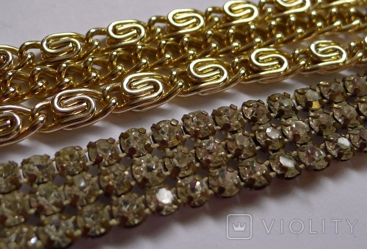 Винтажный браслет с камнями, металлический браслет и два пластиковых под перламутр., фото №7
