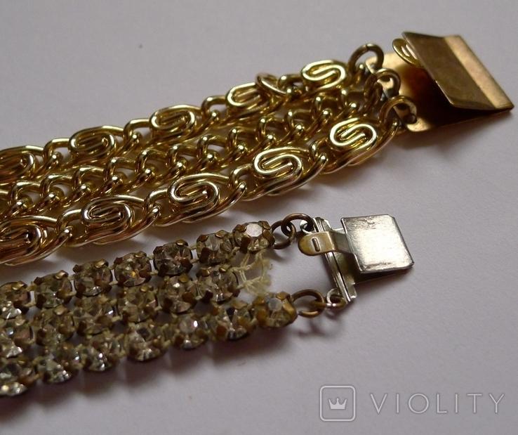 Винтажный браслет с камнями, металлический браслет и два пластиковых под перламутр., фото №8