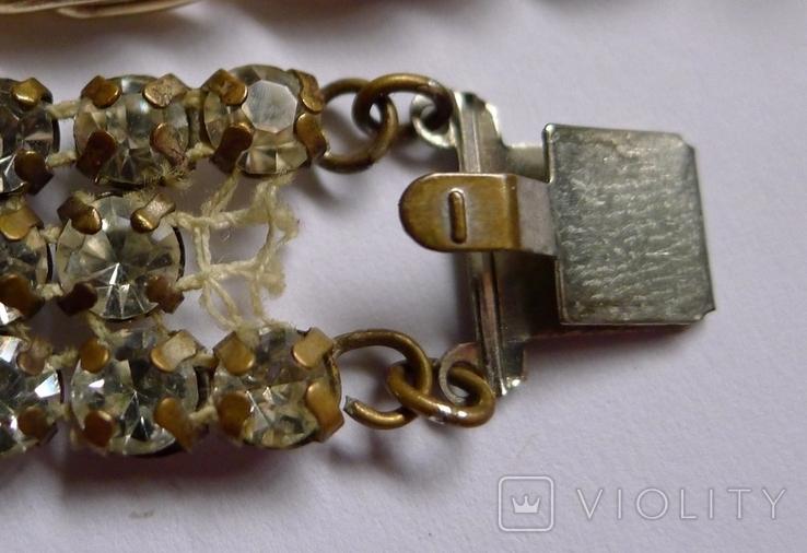 Винтажный браслет с камнями, металлический браслет и два пластиковых под перламутр., фото №9