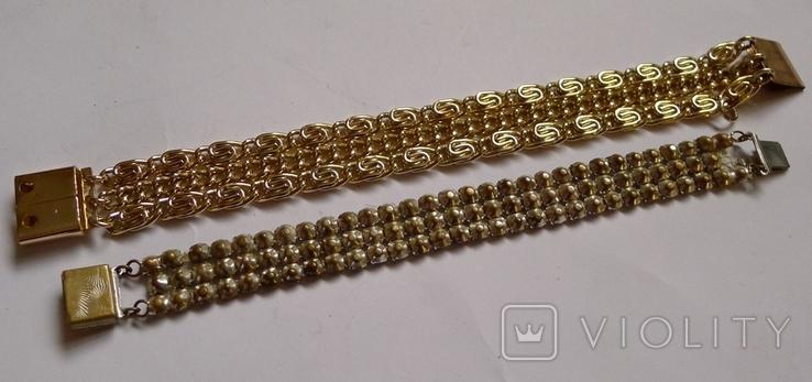 Винтажный браслет с камнями, металлический браслет и два пластиковых под перламутр., фото №11