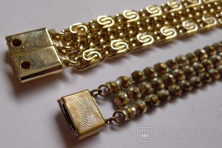 Винтажный браслет с камнями, металлический браслет и два пластиковых под перламутр., фото №12