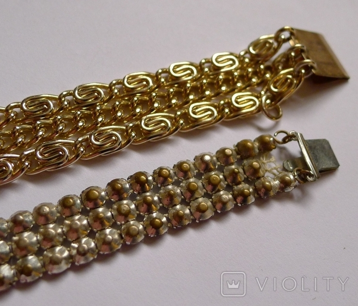 Винтажный браслет с камнями, металлический браслет и два пластиковых под перламутр., фото №13