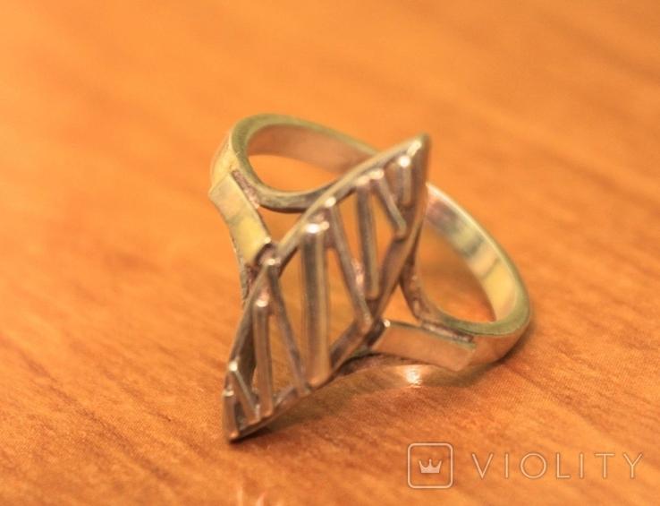 Кольцо СССР серебро 925 арт деко, фото №2