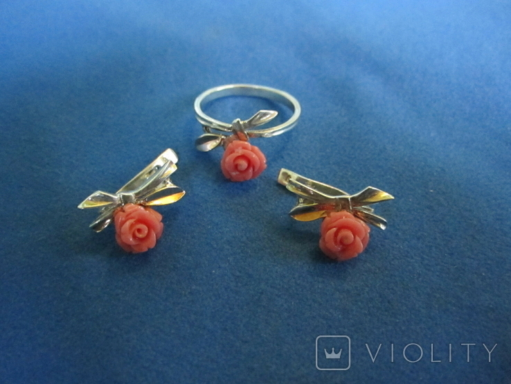 Кольцо и серьги серебро(набор)., фото №2