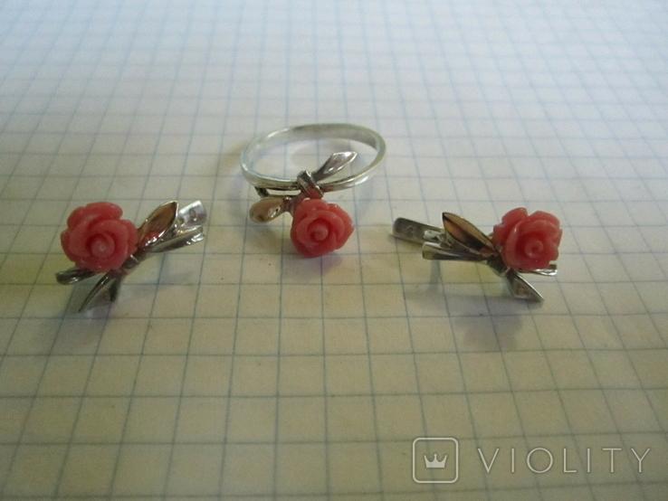 Кольцо и серьги серебро(набор)., фото №9