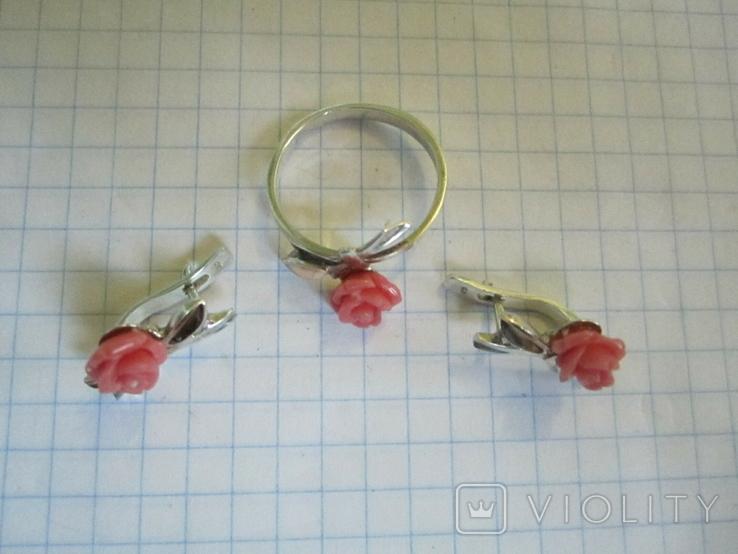 Кольцо и серьги серебро(набор)., фото №10
