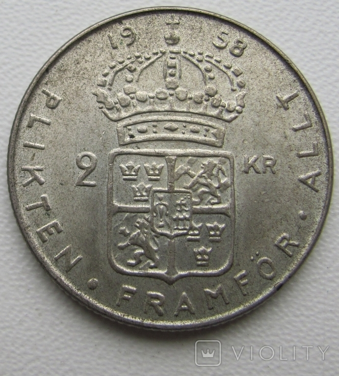 2 кроны 1958 год, Швеция, фото №2