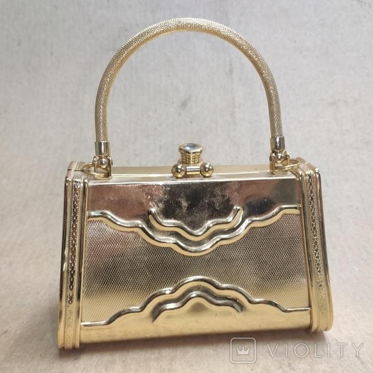 Театральная сумочка в цвете позолоты со стразами. Вся в металле., фото №3