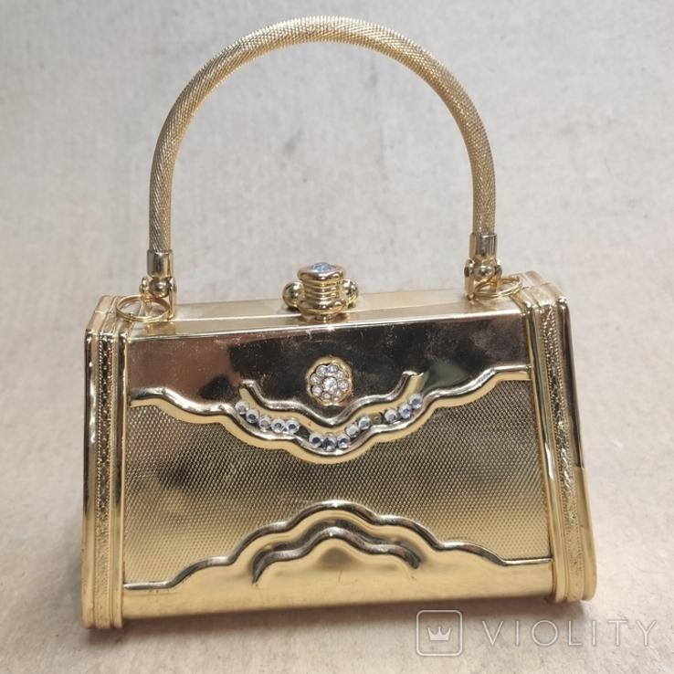 Театральная сумочка в цвете позолоты со стразами. Вся в металле., фото №2