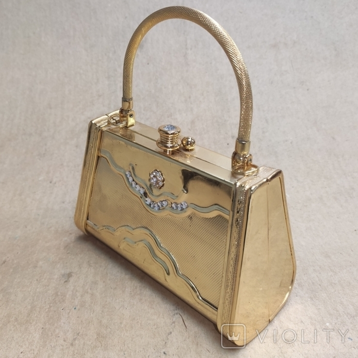 Театральная сумочка в цвете позолоты со стразами. Вся в металле., фото №5