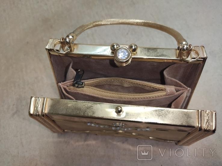 Театральная сумочка в цвете позолоты со стразами. Вся в металле., фото №6