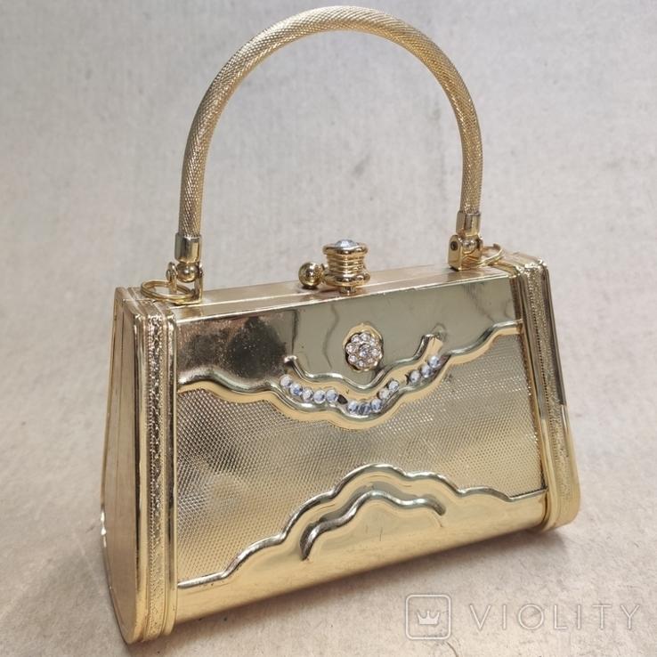 Театральная сумочка в цвете позолоты со стразами. Вся в металле., фото №8