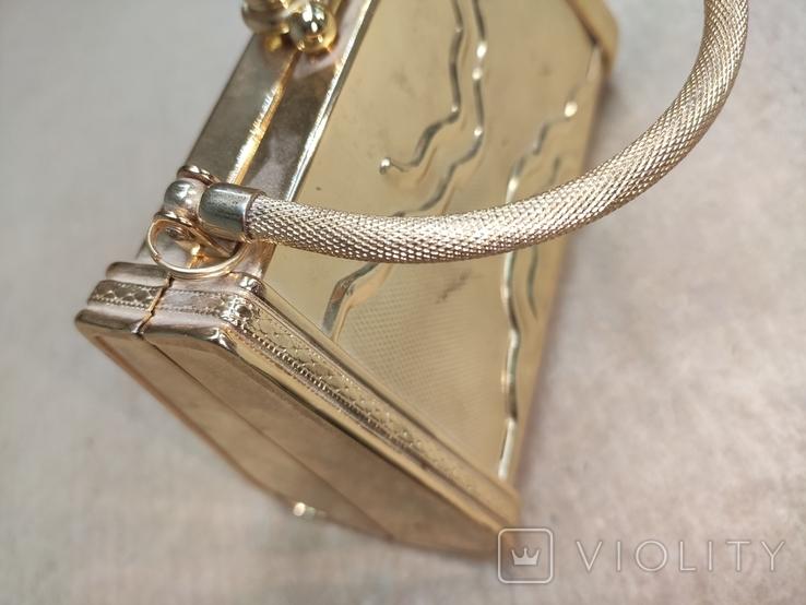 Театральная сумочка в цвете позолоты со стразами. Вся в металле., фото №11