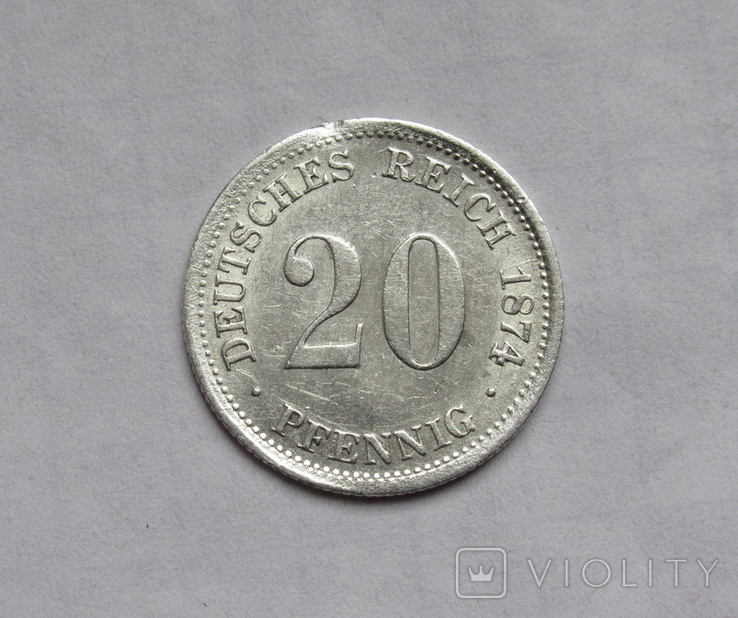 20 пфеннигов 1874 (F), Германия, серебро, фото №4