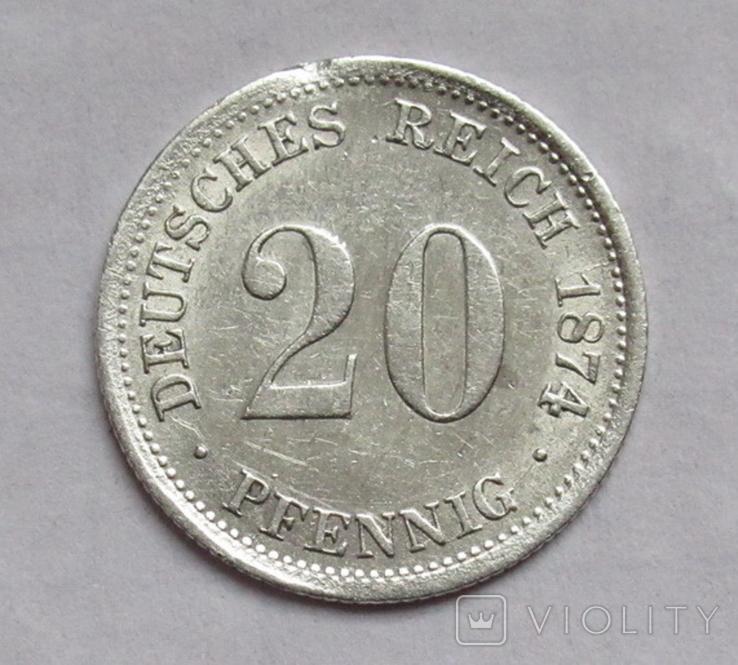20 пфеннигов 1874 (F), Германия, серебро, фото №5