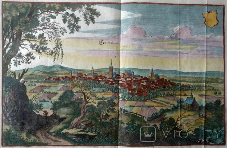 1650 Хомутов Чехия (карта план 40х38 Верже, рис 32х20) СерияАнтик