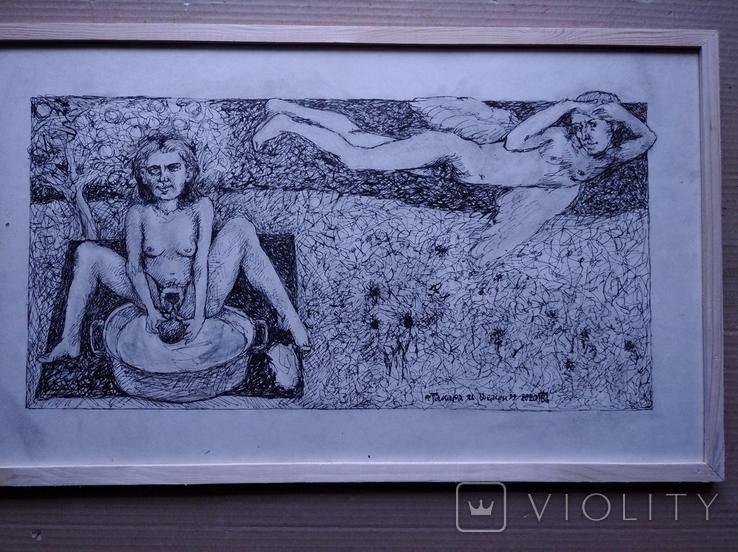 """""""Тамара и Демон"""" б./тушь.35х60 см. Виктор Пвлов, фото №3"""