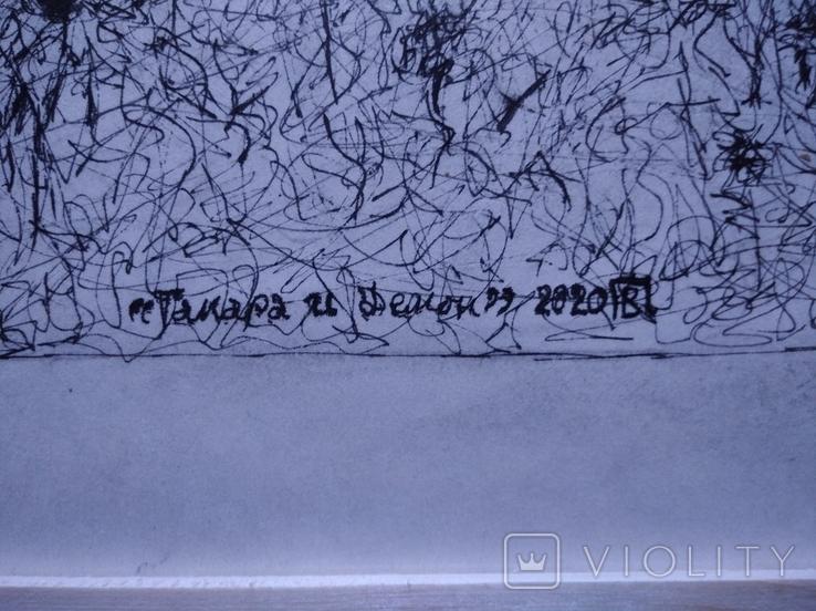 """""""Тамара и Демон"""" б./тушь.35х60 см. Виктор Пвлов, фото №4"""