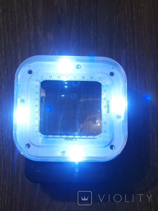 Лупа настольная TH-8016 Увеличение 10х/15х/20х крат со шкалой и подсветкой, фото №4