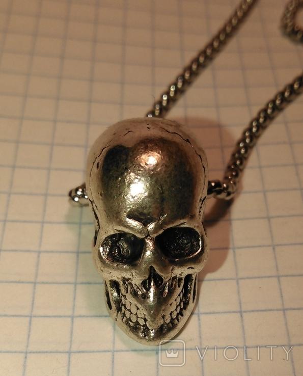 Кулон Череп из металла с цепочкой, фото №3
