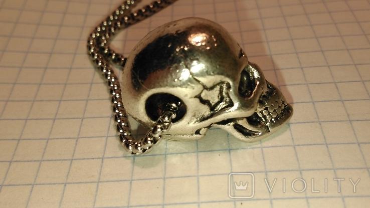 Кулон Череп из металла с цепочкой, фото №4